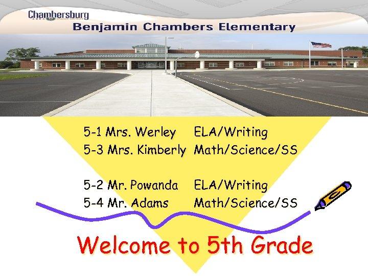 5 -1 Mrs. Werley ELA/Writing 5 -3 Mrs. Kimberly Math/Science/SS 5 -2 Mr. Powanda