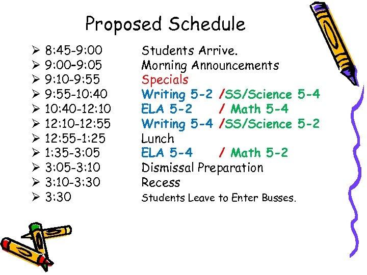 Proposed Schedule Ø Ø Ø 8: 45 -9: 00– 9: 05 9: 10 -9: