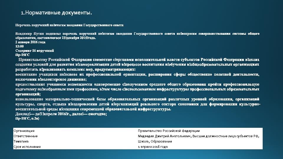 Организация Правительство Российской Федерации Ответственные Медведев Дмитрий Анатольевич, Высшие должностные лица субъектов РФ, Тематика