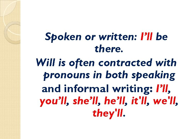 Spoken or written: I'll be there. Will is often contracted with pronouns in both