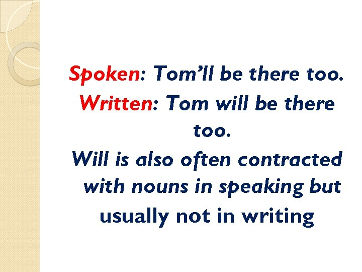 Spoken: Tom'll be there too. Written: Tom will be there too. Will is also