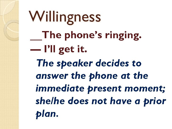 Willingness __The phone's ringing. — I'll get it. The speaker decides to answer the