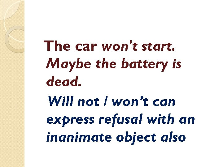 The car won't start. Maybe the battery is dead. Will not / won't can