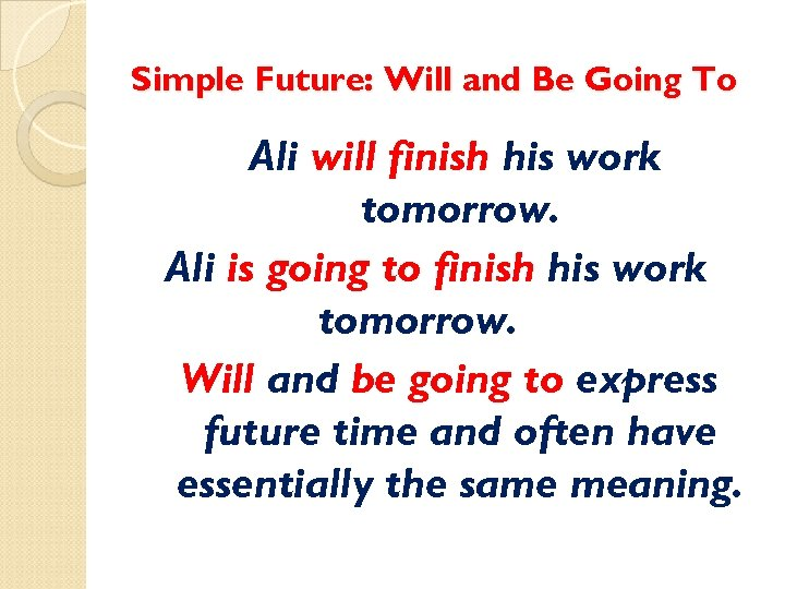 Simple Future: Will and Be Going To Ali will finish his work tomorrow. Ali