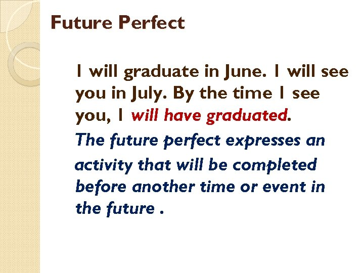 Future Perfect 1 will graduate in June. 1 will see you in July. By