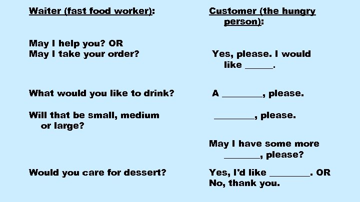 Waiter (fast food worker): May I help you? OR May I take your order?