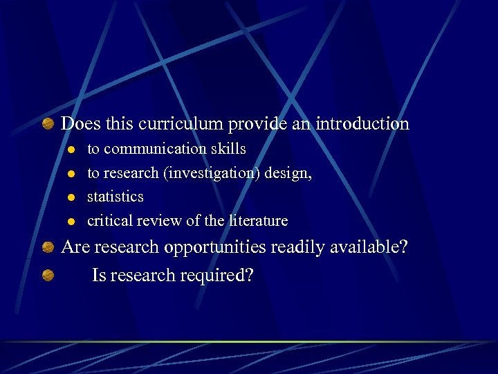 Does this curriculum provide an introduction l l to communication skills to research (investigation)