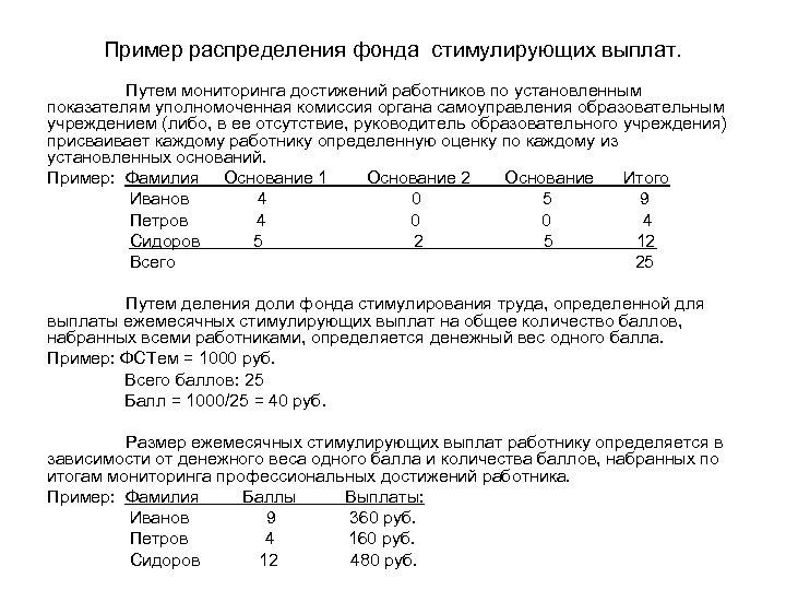 Пример распределения фонда стимулирующих выплат. Путем мониторинга достижений работников по установленным показателям уполномоченная комиссия