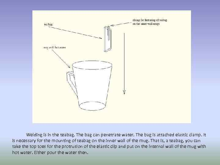Welding is in the teabag. The bag can penetrate water. The bag is attached