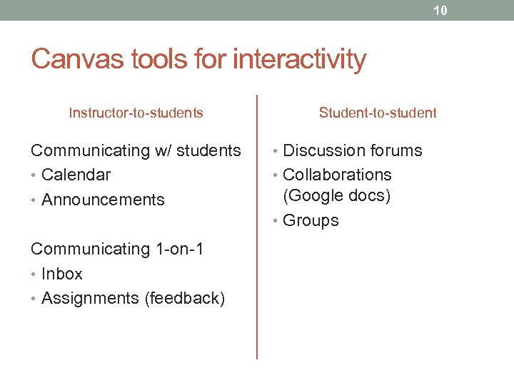 10 Canvas tools for interactivity Instructor-to-students Communicating w/ students • Calendar • Announcements Communicating