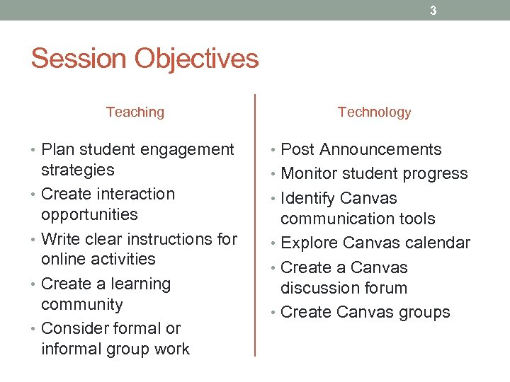 3 Session Objectives Teaching Technology • Plan student engagement • Post Announcements strategies •