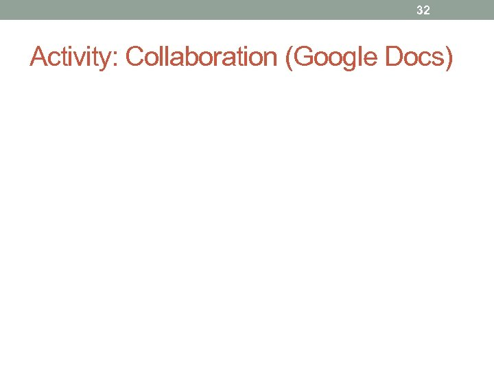 32 Activity: Collaboration (Google Docs)