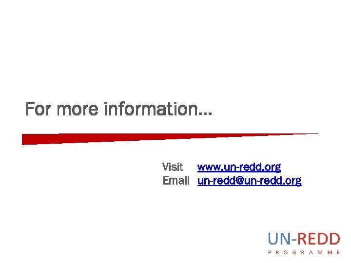 For more information… Visit www. un-redd. org Email un-redd@un-redd. org