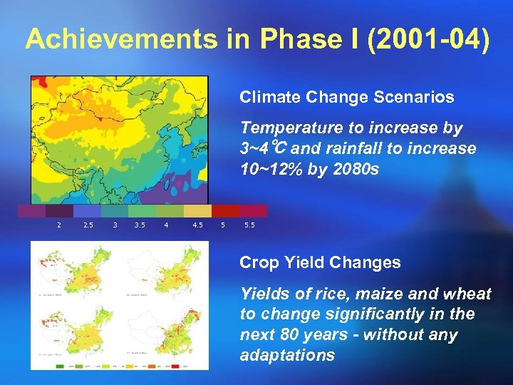 Achievements in Phase I (2001 -04) Climate Change Scenarios Temperature to increase by 3~4℃