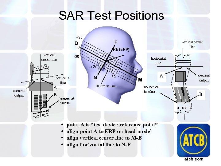 SAR Test Positions +30 F B 0 vertical center line RE (ERP) -30 wt/2