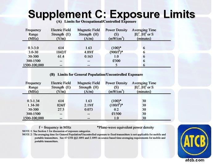 Supplement C: Exposure Limits atcb. com