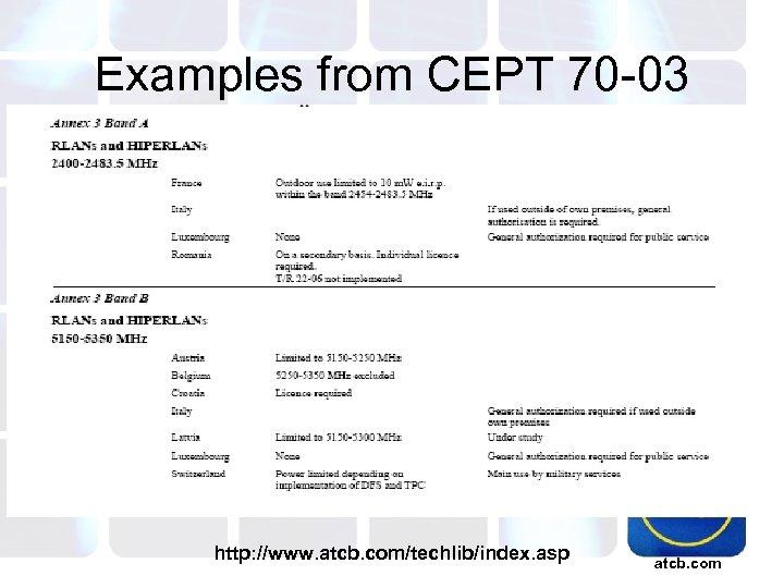 Examples from CEPT 70 -03 http: //www. atcb. com/techlib/index. asp atcb. com