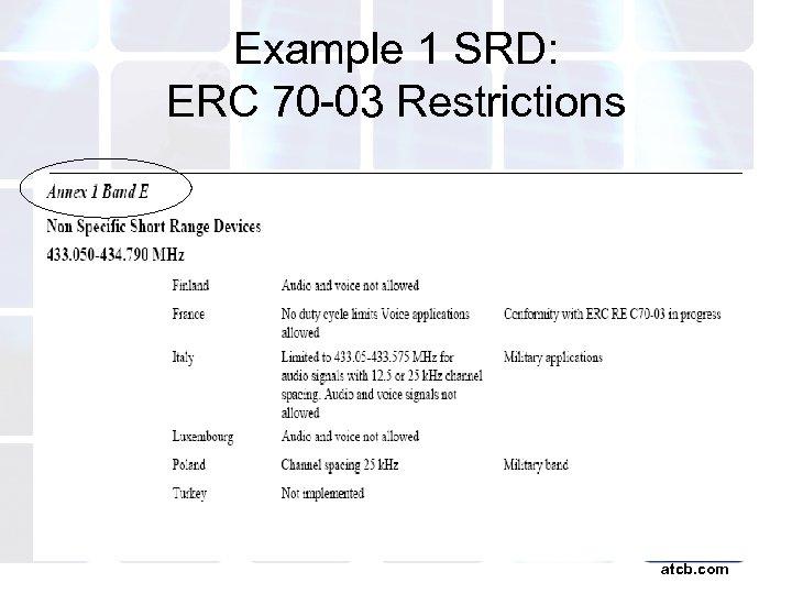 Example 1 SRD: ERC 70 -03 Restrictions atcb. com