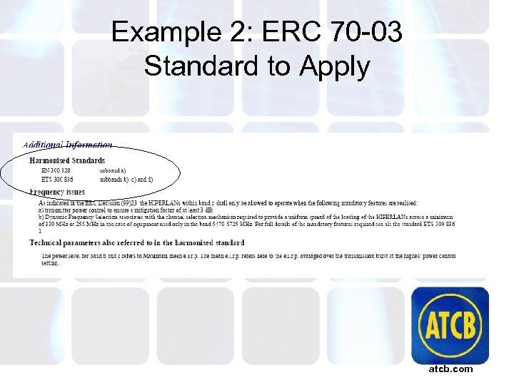 Example 2: ERC 70 -03 Standard to Apply atcb. com