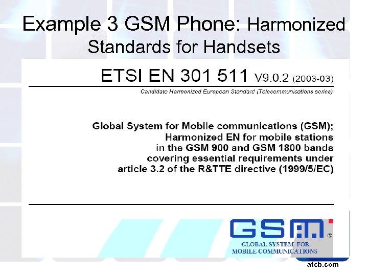 Example 3 GSM Phone: Harmonized Standards for Handsets atcb. com