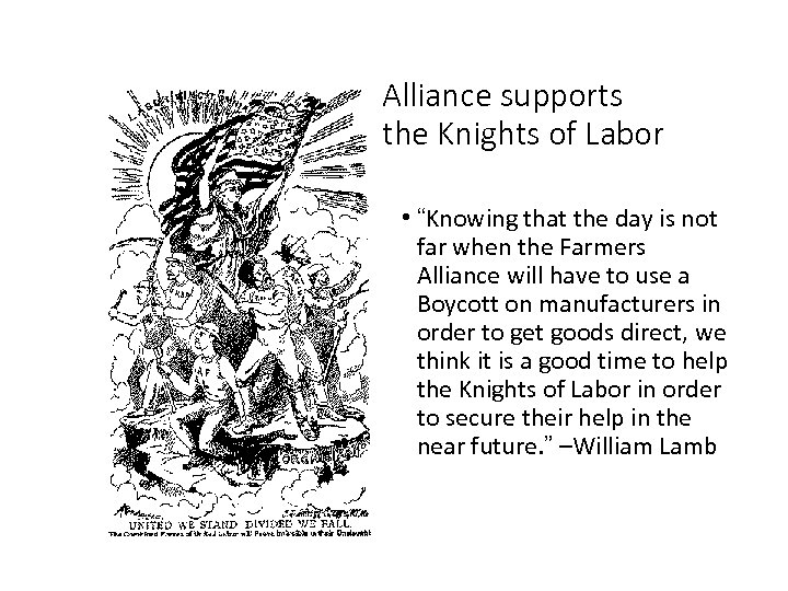 """Alliance supports the Knights of Labor • """"Knowing that the day is not far"""