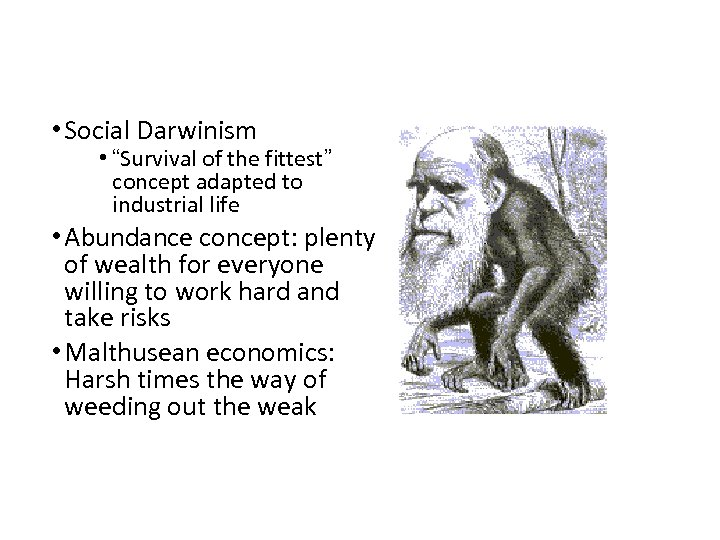 """• Social Darwinism • """"Survival of the fittest"""" concept adapted to industrial life"""