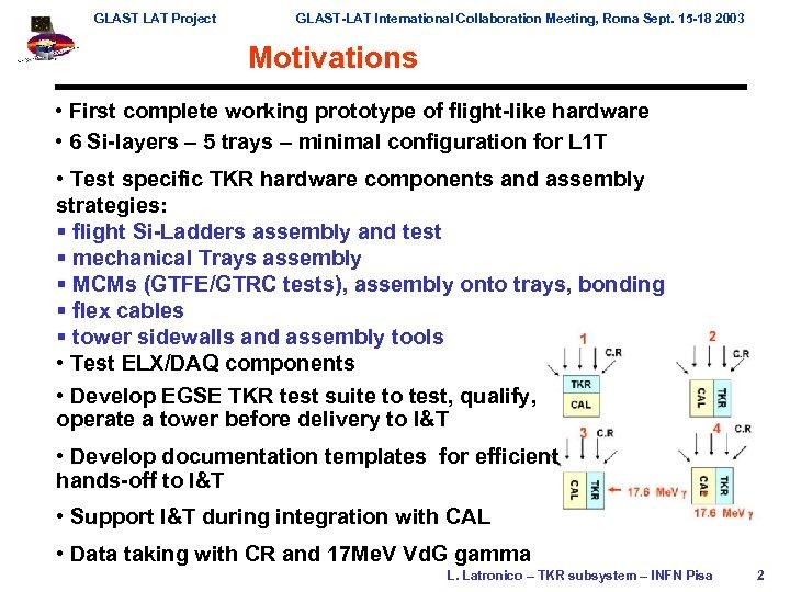GLAST LAT Project GLAST-LAT International Collaboration Meeting, Roma Sept. 15 -18 2003 Motivations •