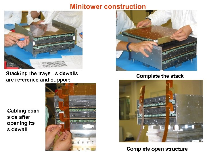 Minitower construction Stacking the trays - sidewalls are reference and support Complete the stack