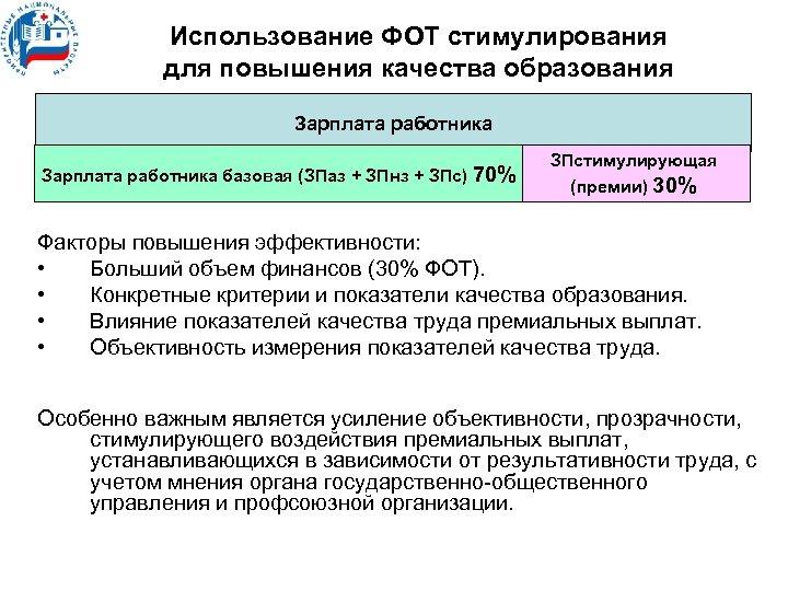 Использование ФОТ стимулирования для повышения качества образования Зарплата работника базовая (ЗПаз + ЗПнз +