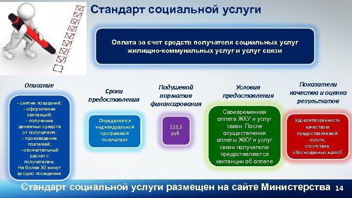 Стандарт социальной услуги Оплата за счет средств получателя социальных услуг жилищно-коммунальных услуг и услуг