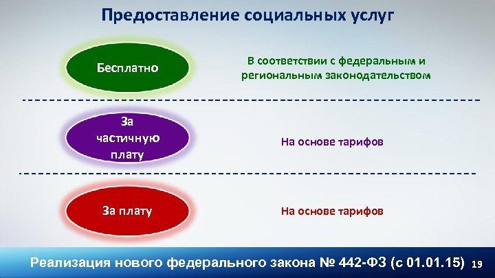 Предоставление социальных услуг Бесплатно В соответствии с федеральным и региональным законодательством За частичную плату