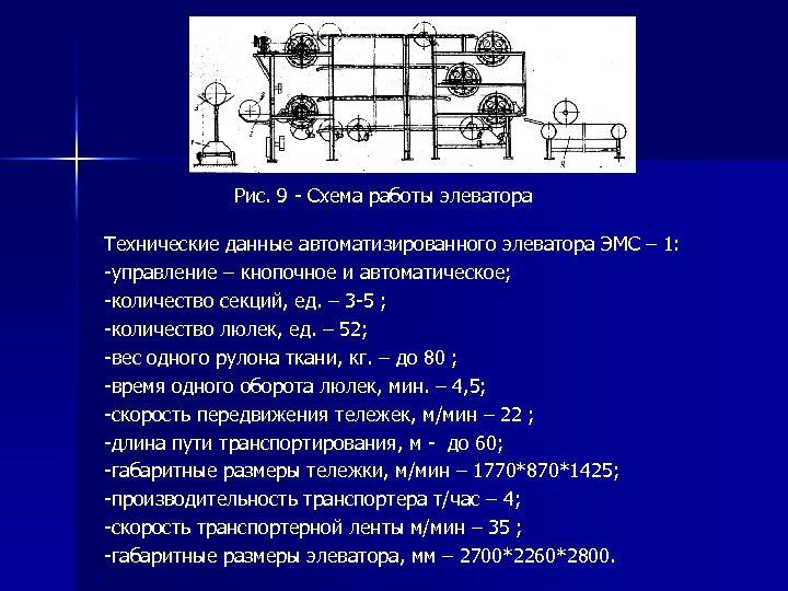 Рис. 9 - Схема работы элеватора Технические данные автоматизированного элеватора ЭМС – 1: -управление