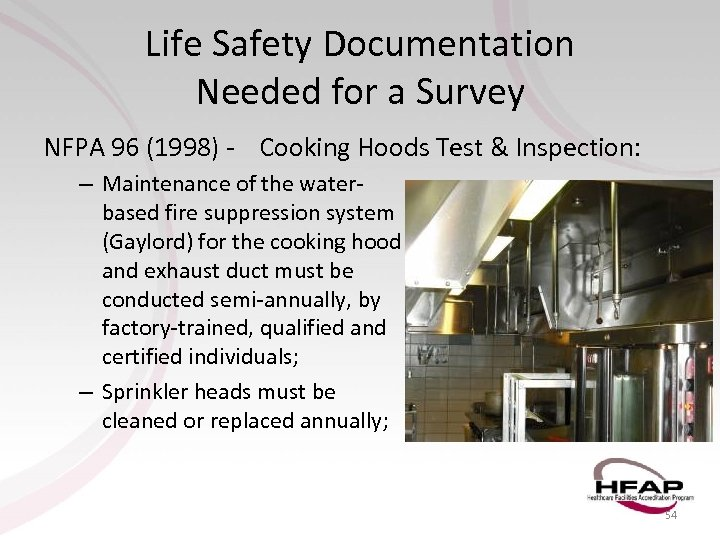 Life Safety Documentation Needed for a Survey NFPA 96 (1998) - Cooking Hoods Test