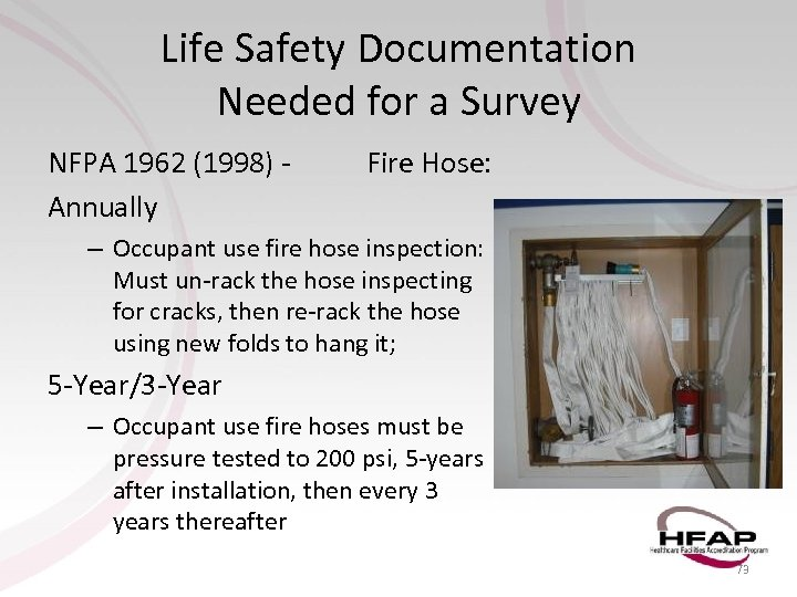 Life Safety Documentation Needed for a Survey NFPA 1962 (1998) Annually Fire Hose: –