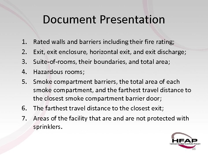 Document Presentation 1. 2. 3. 4. 5. Rated walls and barriers including their fire