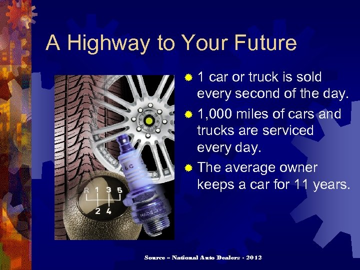 A Highway to Your Future ® 1 car or truck is sold every second