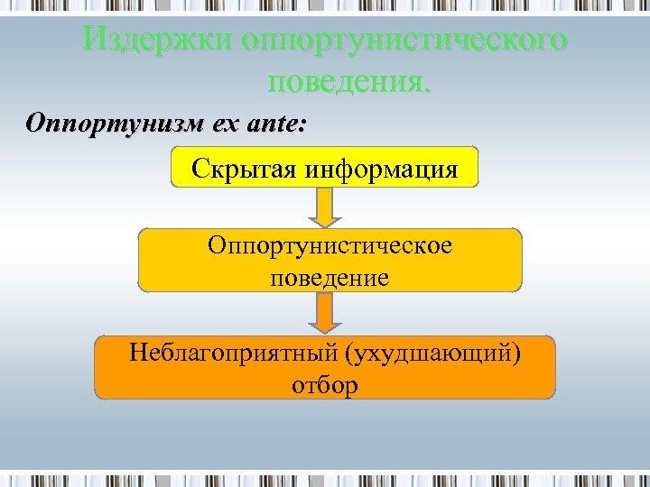 Издержки оппортунистического поведения. Оппортунизм ex ante: Скрытая информация Оппортунистическое поведение Неблагоприятный (ухудшающий) отбор