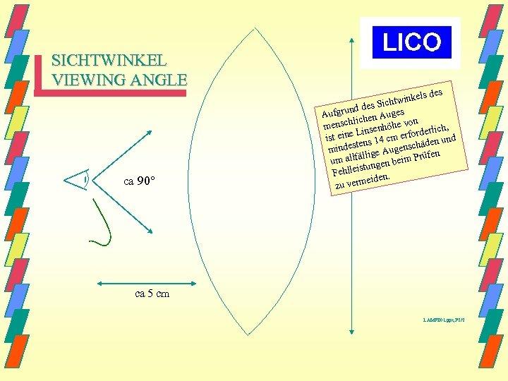 SICHTWINKEL VIEWING ANGLE ca 90° ls des twinke es Sich grund d Auges Auf