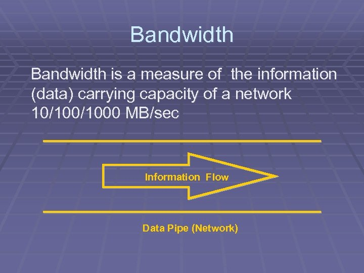 Bandwidth is a measure of the information (data) carrying capacity of a network 10/1000