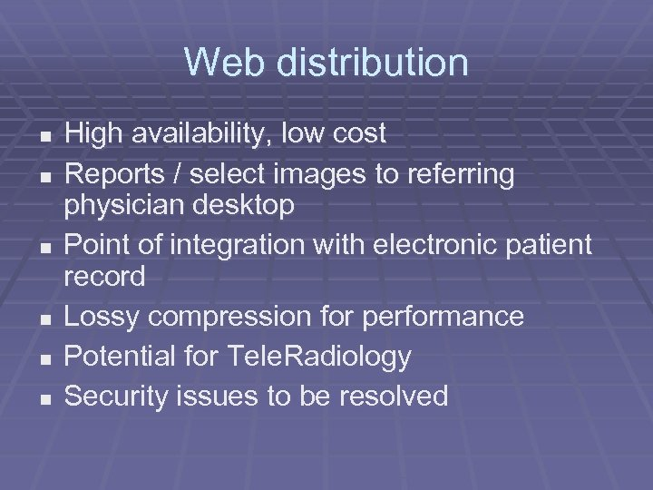 Web distribution n n n High availability, low cost Reports / select images to