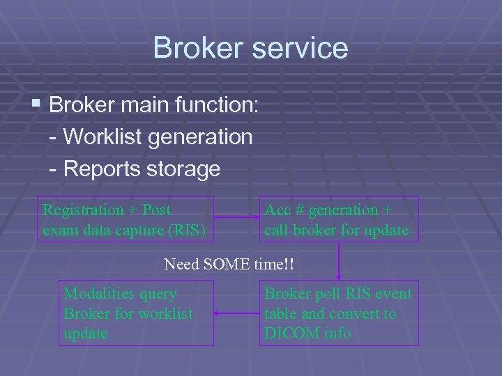 Broker service § Broker main function: - Worklist generation - Reports storage Registration +