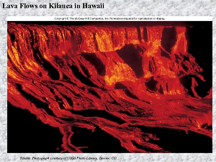 Lava Flows on Kilauea in Hawaii Source: Photograph courtesy of USGS Photo Library, Denver,