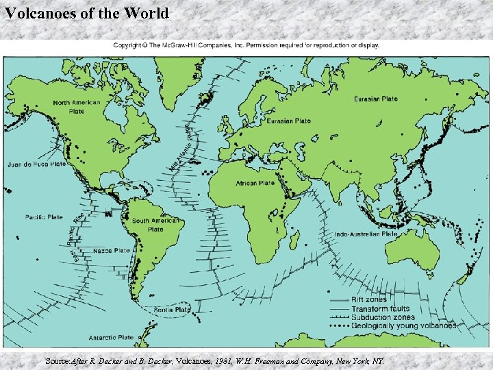 Volcanoes of the World Source: After R. Decker and B. Decker, Volcanoes, 1981, W.