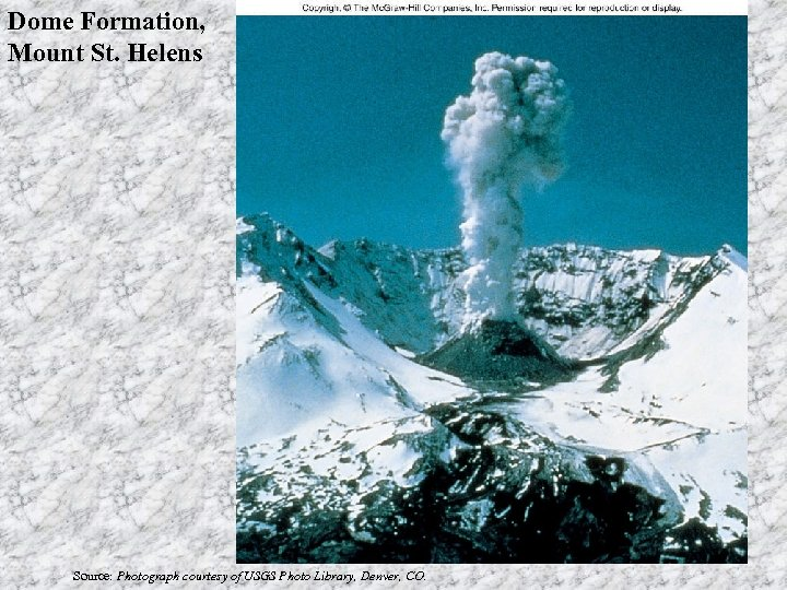 Dome Formation, Mount St. Helens Source: Photograph courtesy of USGS Photo Library, Denver, CO.