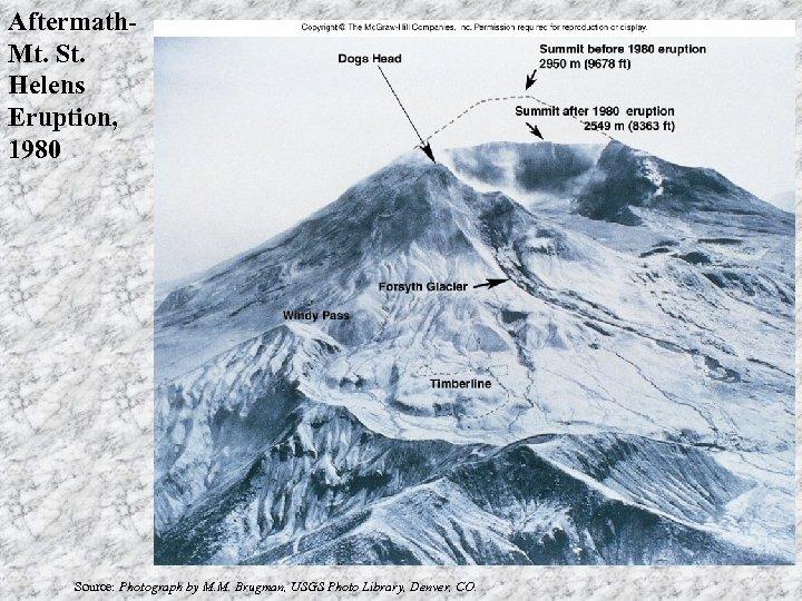 Aftermath. Mt. St. Helens Eruption, 1980 Source: Photograph by M. M. Brugman, USGS Photo