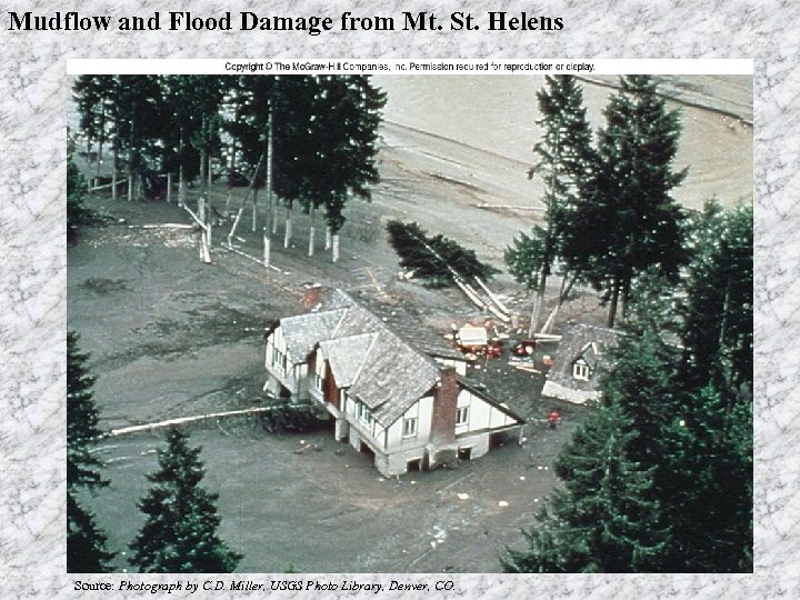 Mudflow and Flood Damage from Mt. St. Helens Source: Photograph by C. D. Miller,