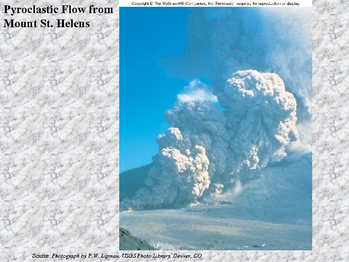 Pyroclastic Flow from Mount St. Helens Source: Photograph by P. W. Lipman, USGS Photo