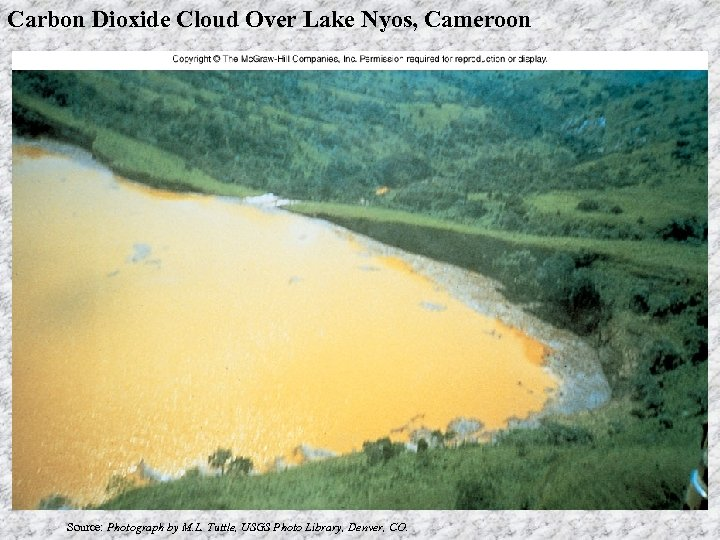 Carbon Dioxide Cloud Over Lake Nyos, Cameroon Source: Photograph by M. L. Tuttle, USGS