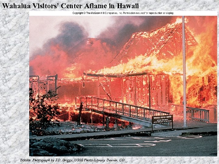 Wahalua Visitors' Center Aflame in Hawaii Source: Photograph by J. D. Griggs, USGS Photo