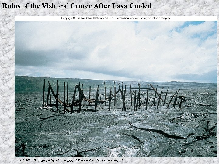 Ruins of the Visitors' Center After Lava Cooled Source: Photograph by J. D. Griggs,